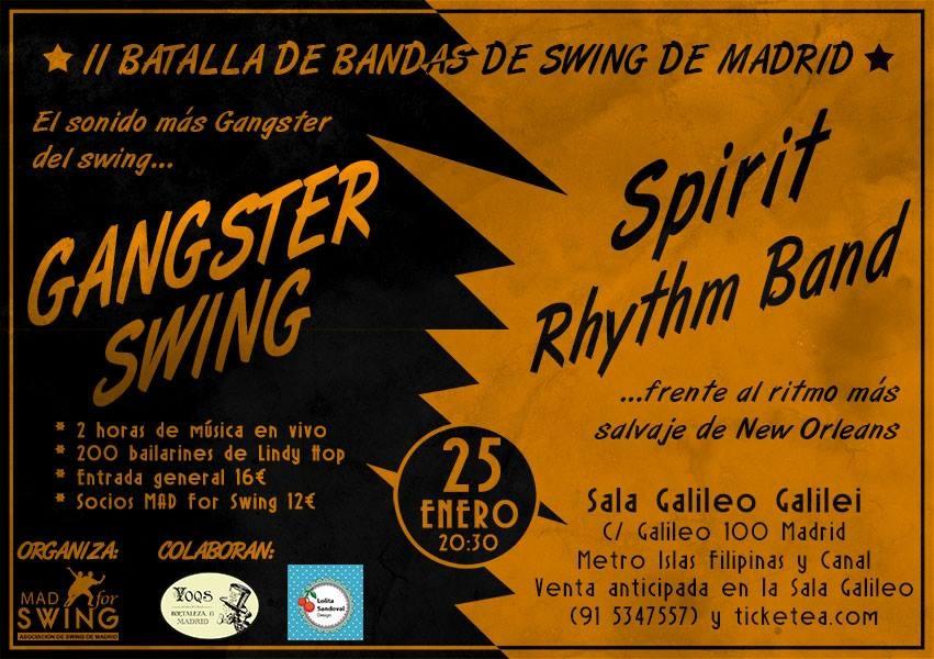 Fiesta de música y baile Swing en Madrid. Sala Galileo Galilei, 25 de enero de 2014.