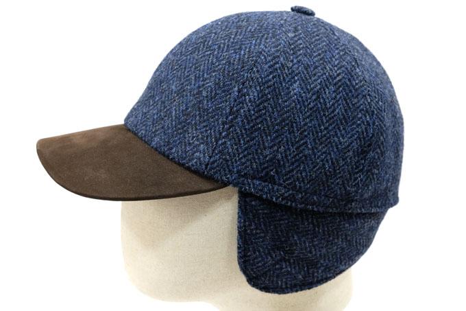 Yoqs Baseball Harris Tweed azul y visera cuero  Esta gorra estilo baseball  se puede utilizar en los días más fríos del invierno 45017d458d1